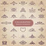 Colección grande de elementos caligráficos adornados del diseño - sistema del vector Imagenes de archivo