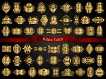 Colección grande de etiquetas de oro en estilo del vintage Fotografía de archivo