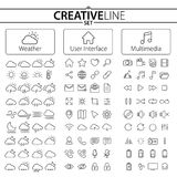 Colección grande de iconos del tiempo, de la interfaz de usuario y de las multimedias libre illustration