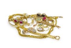 Colección grande de joyería del oro Fotografía de archivo