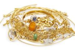 Colección grande de joyería del oro Imagen de archivo