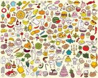 Colección grande de la comida y de la cocina Imagen de archivo libre de regalías