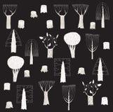 Colección grande de los árboles del Grunge en blanco y negro, con el textur gris Foto de archivo libre de regalías