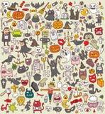 Colección grande de los iconos de Halloween Fotos de archivo libres de regalías