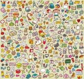 Colección grande de los iconos de la escuela y de la educación ilustración del vector