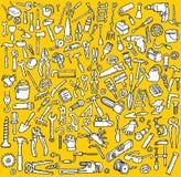 Colección grande de los iconos de las herramientas en blanco y negro Imagen de archivo