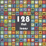 Colección grande de los iconos planos - transporte, comunicación, deporte, multimedias, música, tiempo, etc Imagen de archivo libre de regalías