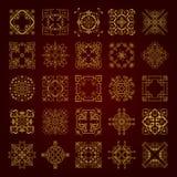 Colección grande de ornamentos caligráficos decorativos de oro en estilo del vintage Foto de archivo libre de regalías