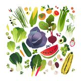 Colección grande del clip art con las frutas y verduras Foto de archivo