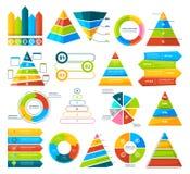 Colección grande del vector de elementos infographic Gráficos circulares, gráficos, diagrama y triángulos stock de ilustración