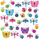 Colección grande del vector de insectos temáticos del remiendo y de la fiesta de bienvenida al bebé libre illustration