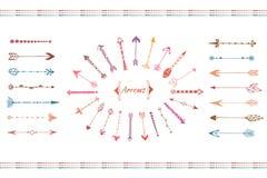 Colección grande dibujada mano de las flechas Sistema de elementos étnico colorido Vector aislado stock de ilustración