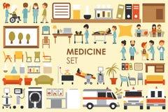 Colección grande médica en concepto plano del fondo del diseño Sistema de elementos de Infographic con el doctor y la enfermera d Imagen de archivo