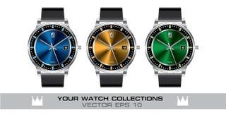 Colección gris de la correa de cuero del color del reloj del acero inoxidable en el vector blanco del fondo Fotos de archivo libres de regalías
