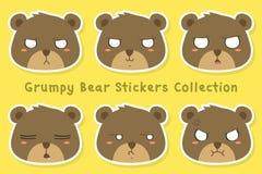 Colección gruñona del vector de la plantilla de las etiquetas engomadas del oso Fotografía de archivo libre de regalías