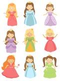 Colección hermosa de las princesas Fotografía de archivo