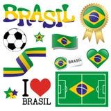 Colección - iconos del Brasil y accesorios del márketing ilustración del vector