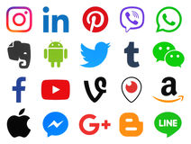 Colección iconos sociales del color popular de medios stock de ilustración