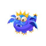Colección imaginaria del monstruo de Dragon With Four Wings Fantasy del animal doméstico amistoso fantástico azul Fotos de archivo