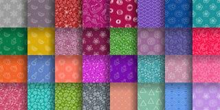 Colección inconsútil del modelo Sistema colorido del fondo del vector Floral, grupo de la textura de la fruta Corazones, sol, ond ilustración del vector