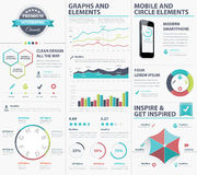Colección infographic grande de los elementos del vector para visualizar datos Imágenes de archivo libres de regalías