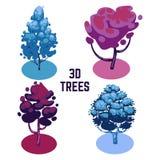 Colección inusual de los árboles de los colores - árboles aislados en blanco libre illustration