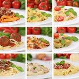 Colección italiana de la cocina de comidas de la comida de los tallarines de las pastas de los espaguetis fotografía de archivo