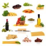 Colección italiana del alimento Foto de archivo libre de regalías