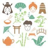 Colección japonesa de los elementos del diseño de la cultura ilustración del vector