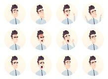 Colección joven del avatar del hombre de negocios Expresión y sistema de la emoción libre illustration