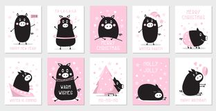 Colección linda de cerdos de la diversión stock de ilustración