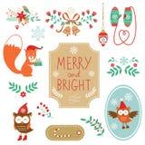 Colección linda de elments decorativos de la Navidad Fotografía de archivo