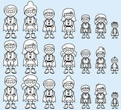 Colección linda de figura diversa super héroes del palillo o de familias del super héroe ilustración del vector
