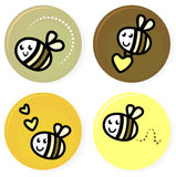 Colección linda de la abeja del vector del doodle Imagen de archivo libre de regalías