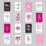 Colección linda de la postal del amor del bosquejo del diseño de Valentine Day Greeting Cards Set Fotos de archivo libres de regalías
