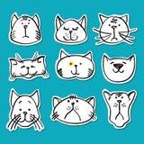 Colección linda de las etiquetas engomadas de los gatos del garabato libre illustration