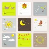 Colección linda de las tarjetas del vector Imágenes de archivo libres de regalías