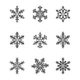 Colección linda de los copos de nieve aislada en el fondo blanco libre illustration