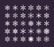 Colección linda de los copos de nieve aislada en fondo oscuro Los iconos planos de la nieve, nieve forman escamas silueta Element ilustración del vector