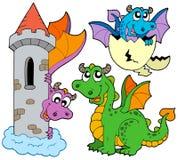 Colección linda de los dragones ilustración del vector