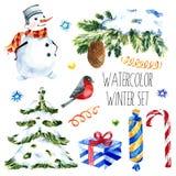 Colección linda de los ejemplos de la Navidad de la acuarela fije para el libro de recuerdos y el diseño Fotografía de archivo