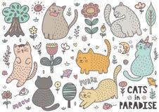 Colección linda de los gatos con los mouses, los pájaros, los árboles, las flores y las plantas ilustración del vector