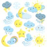 Colección linda de los iconos del tiempo con el sol, luna, nubes, estrella, copos de nieve, lluvia