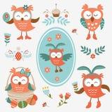 Colección linda de los olws de Pascua libre illustration