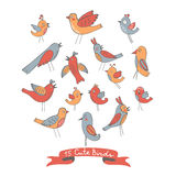 Colección linda de pájaros divertidos Imagenes de archivo