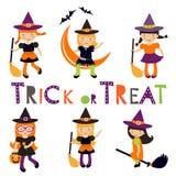 Colección linda de pocas brujas de Halloween Imagen de archivo