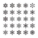Colección linda del copo de nieve aislada en el fondo blanco Los iconos planos de la nieve, nieve forman escamas silueta Copos de ilustración del vector
