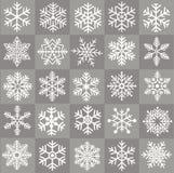 Colección linda del copo de nieve aislada en fondo negro Imagen de archivo libre de regalías