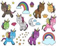 Colección linda del vector de unicornios o de caballos Imagen de archivo