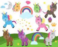 Colección linda del vector de unicornios o de caballos Imagen de archivo libre de regalías